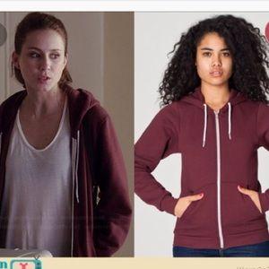 American Apparel burgundy hoodie XXS